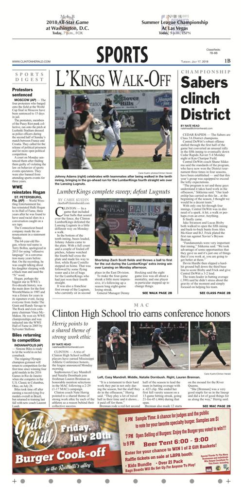 the sports page for july 17 2018