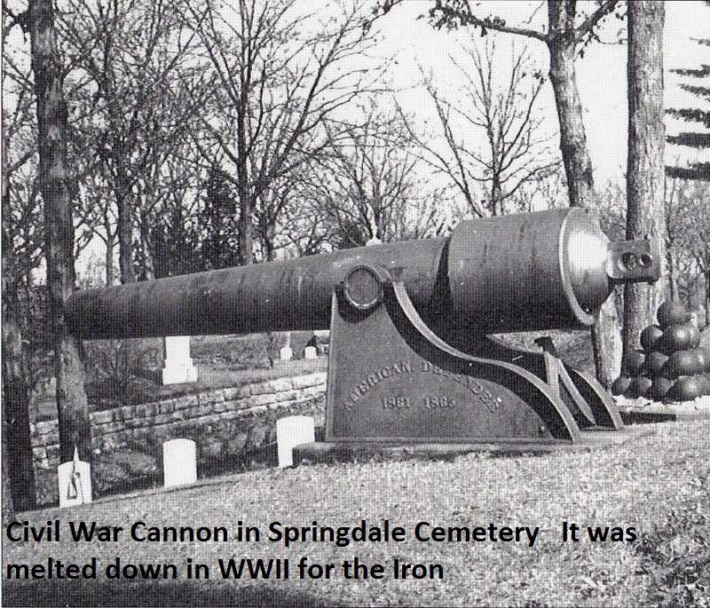 Civil War Cannon in Springdale Cem (WWII Scap Drive)