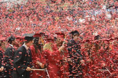Confetti at Clinton High School graduation
