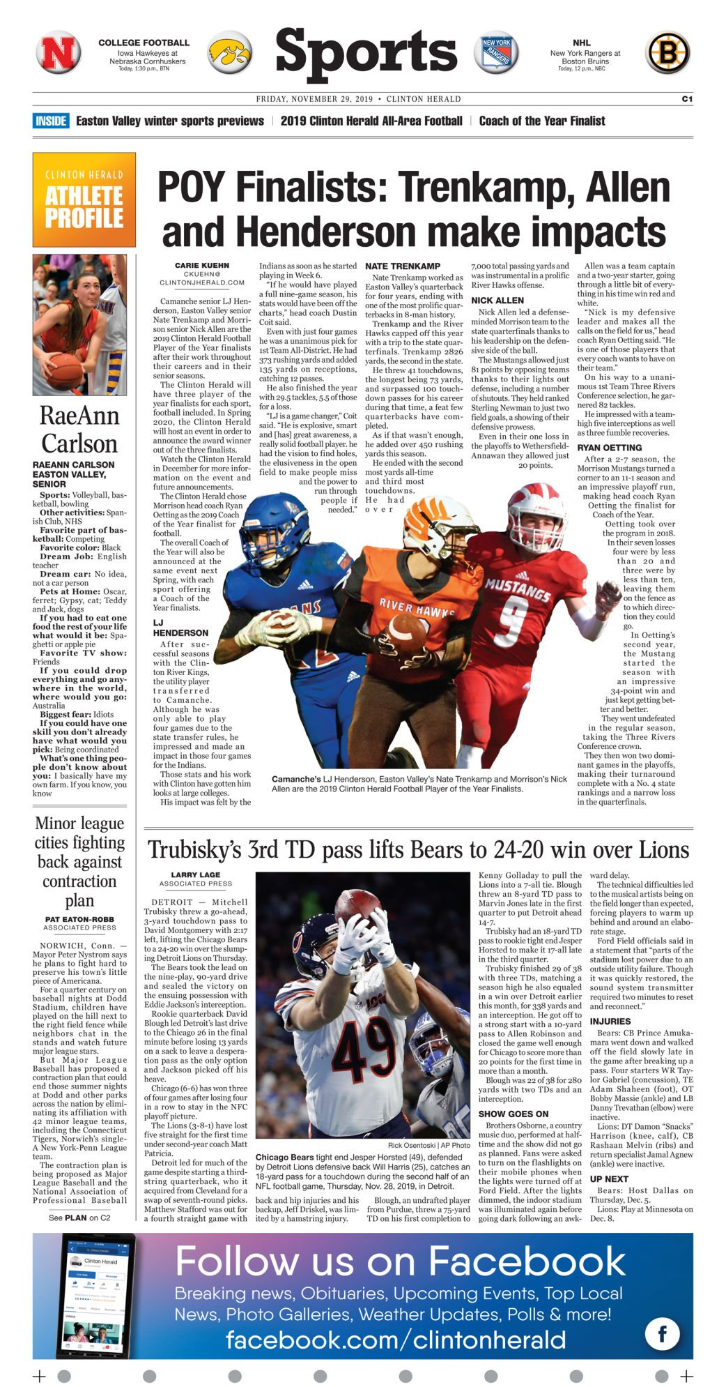 Nov. 29, 2019 Front Sports Page