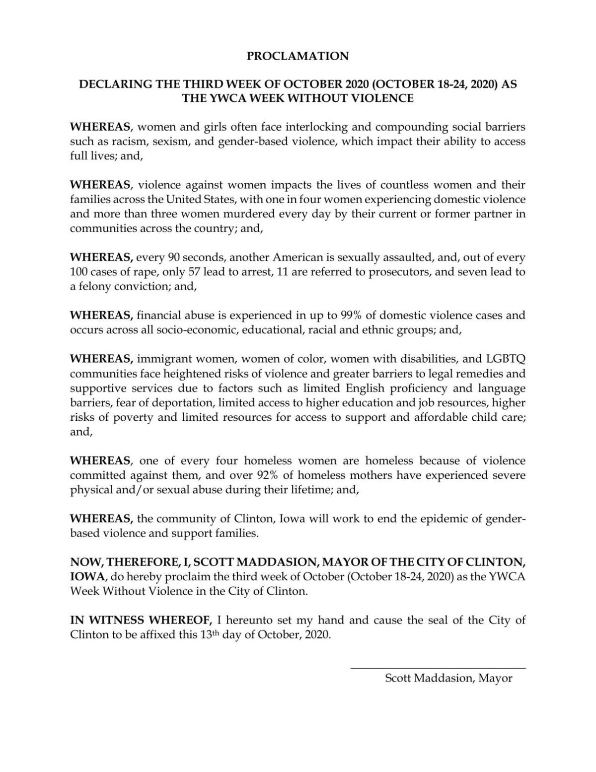 Week Without Violence Proclamation