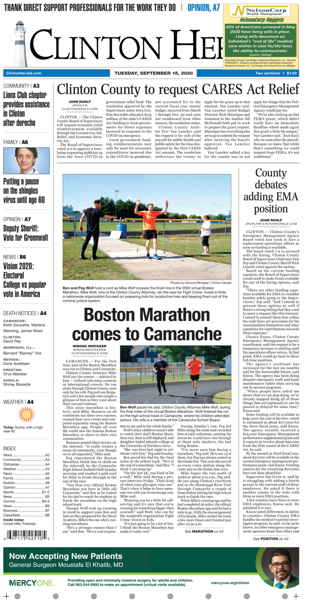 September 15, 2020 Front page