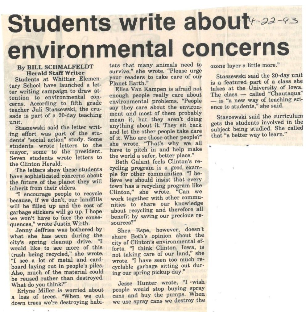 Students write about environmental concerns