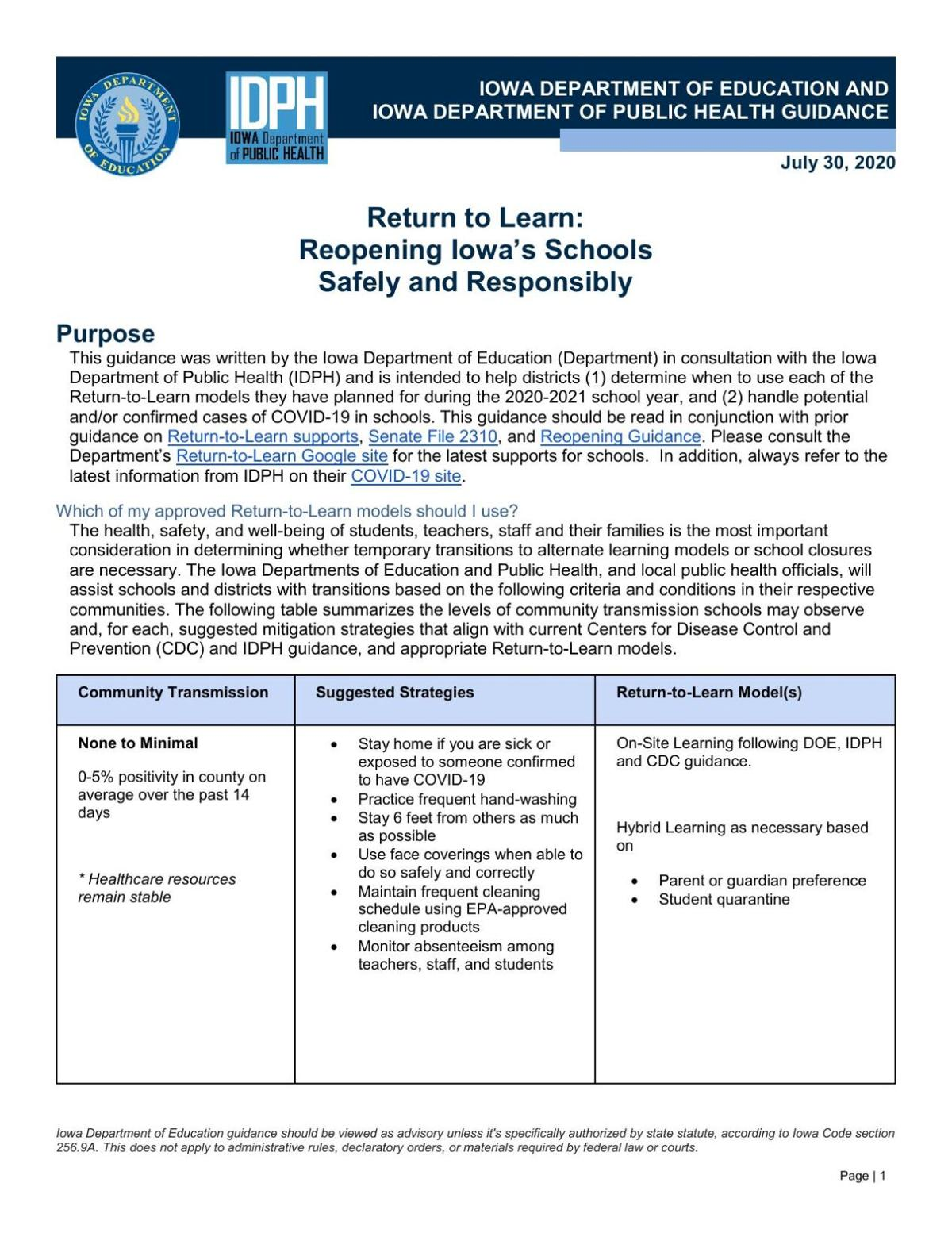 State Return-to-Learn guidelines