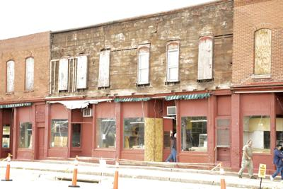 Smith Brothers General Store after bricks fall from side