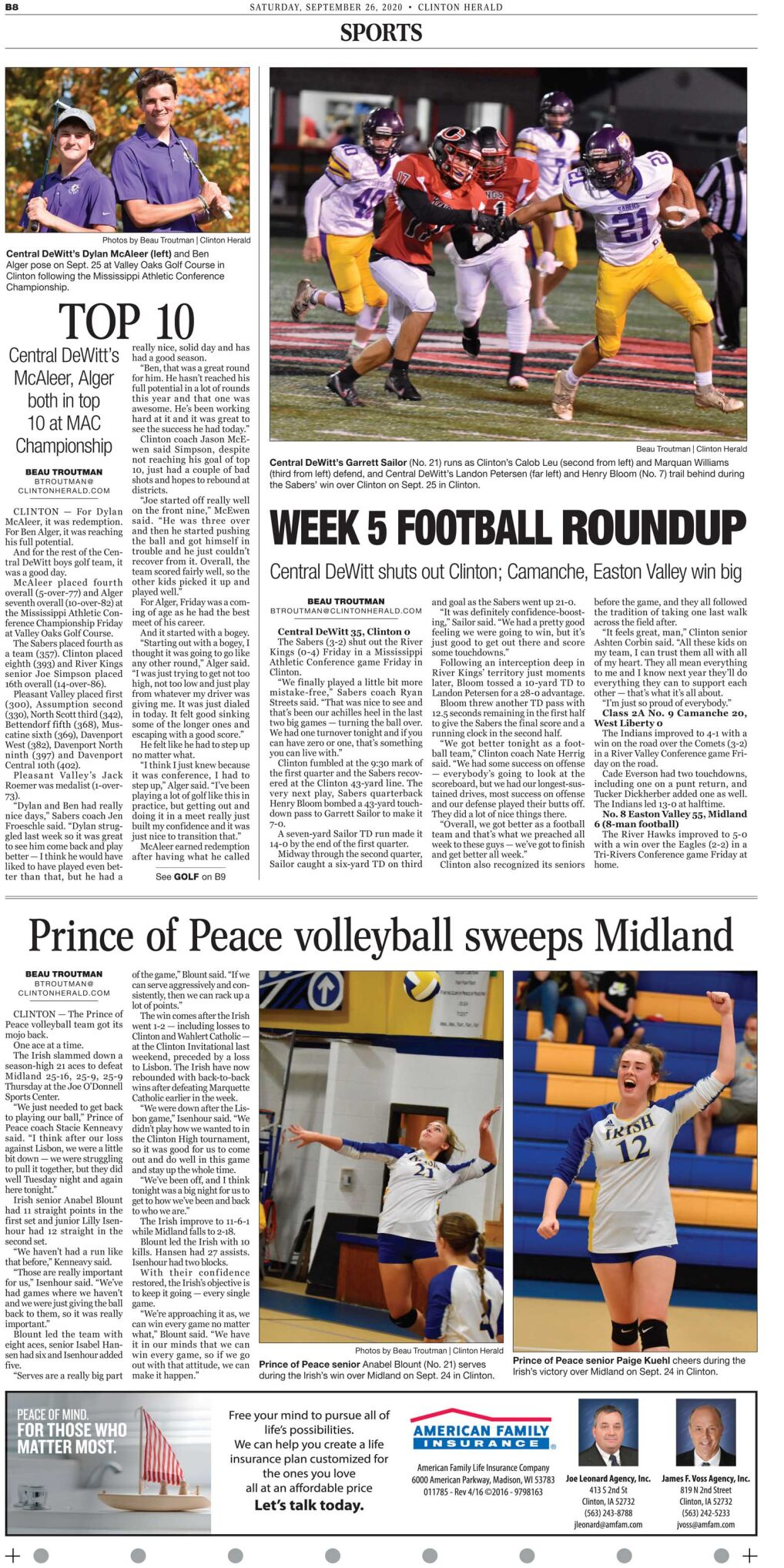 September 26, 2020 front sports page