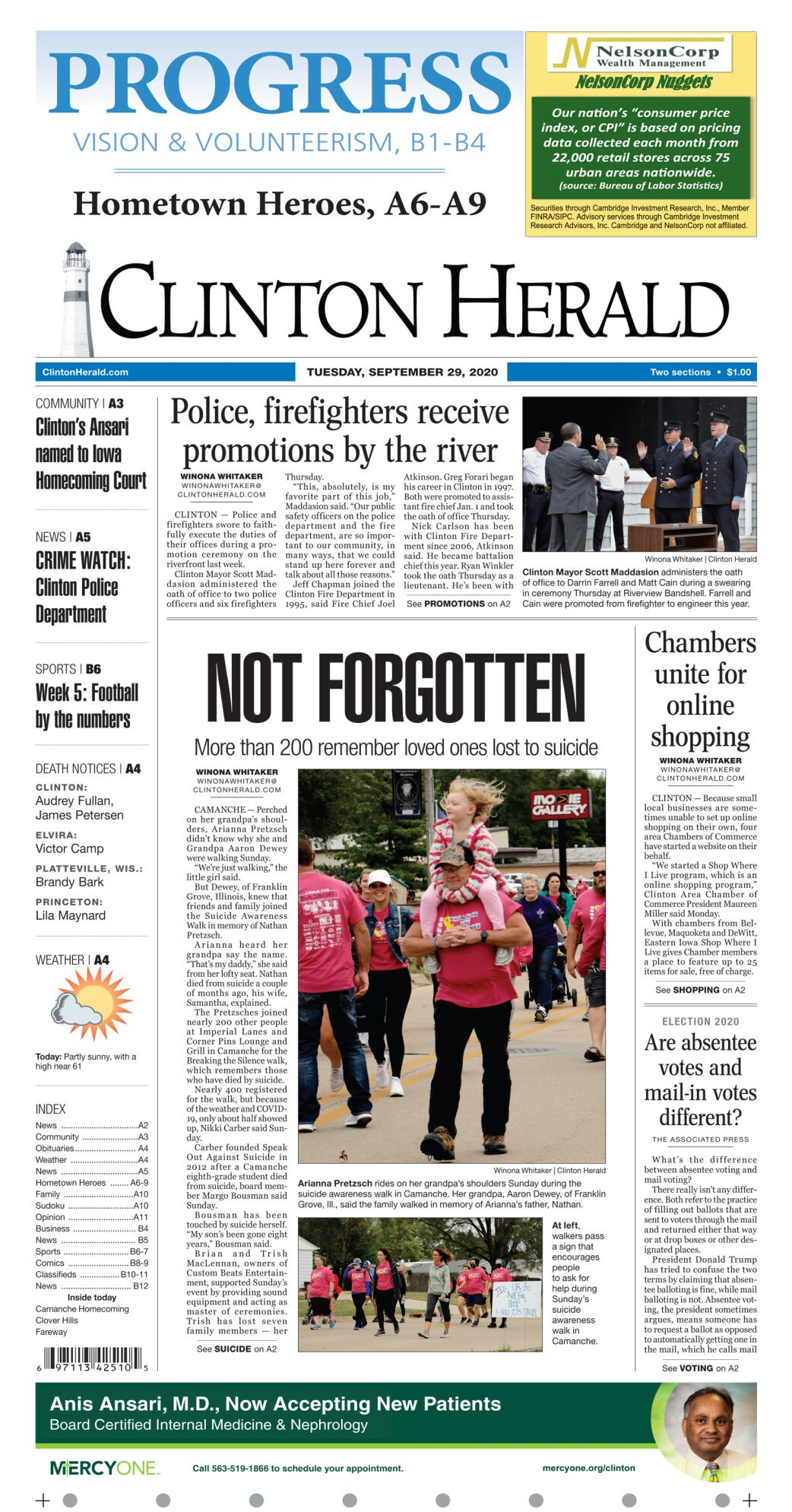September 29, 2020 Front Sports page