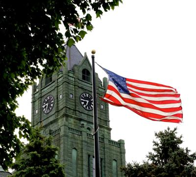 clinton county courthouse and flag