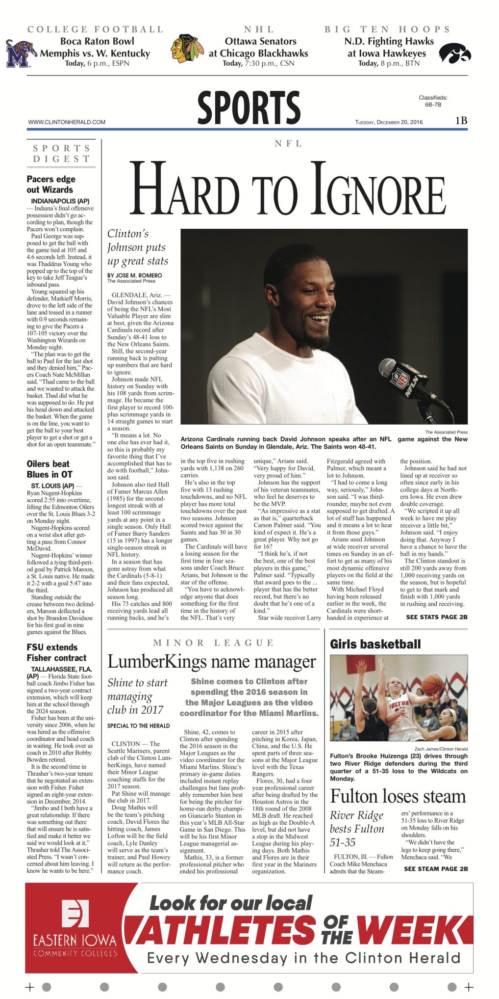 The Sports Page | Section Fronts | clintonherald com