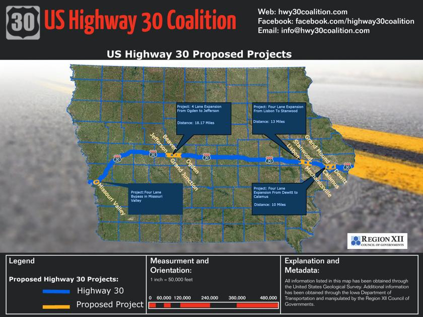 UPDATE Fourlane Projects Designated Priority By Iowa - Us highway 30 map