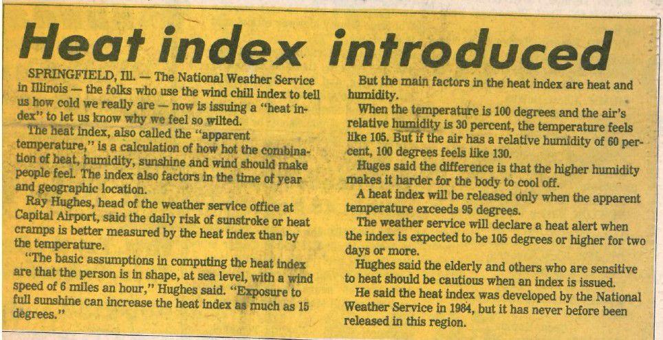 Heat Index introduced