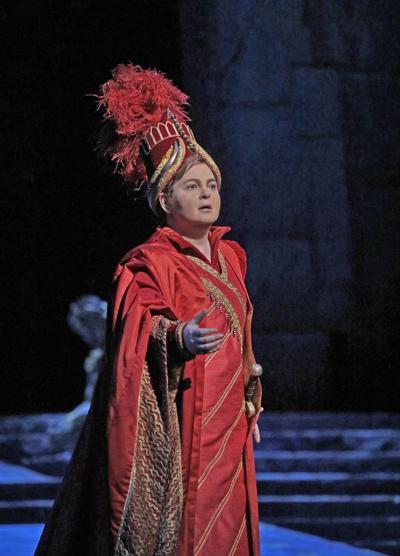 "Elizabeth DeShong as the Assyrian warrior Arsace in Rossini's ""Semiramide,"""