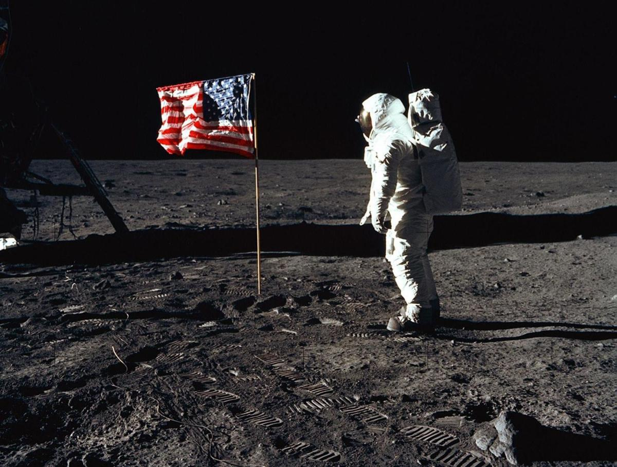 Aldrin with American flag
