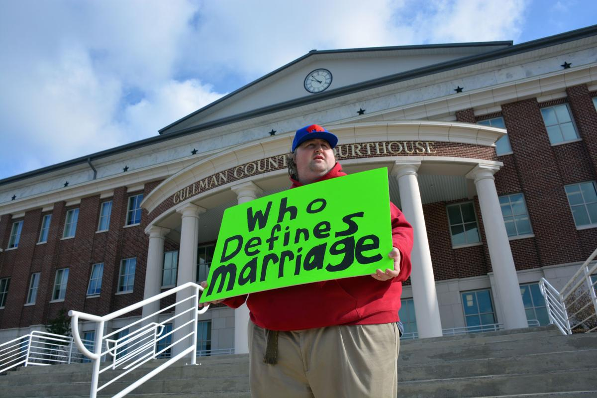 Same-sex marriage courthouse sign