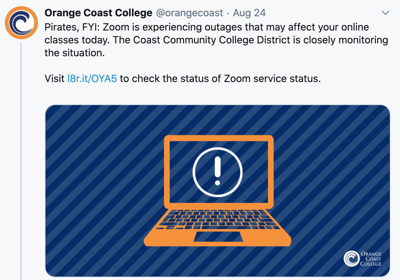 OCC students face Zoom outage, web challenges as virtual semester begins