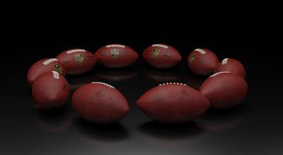 NFL footballs in a circle