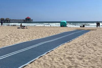 Mobi-Mat provides Huntington Beach visitors access to shoreline