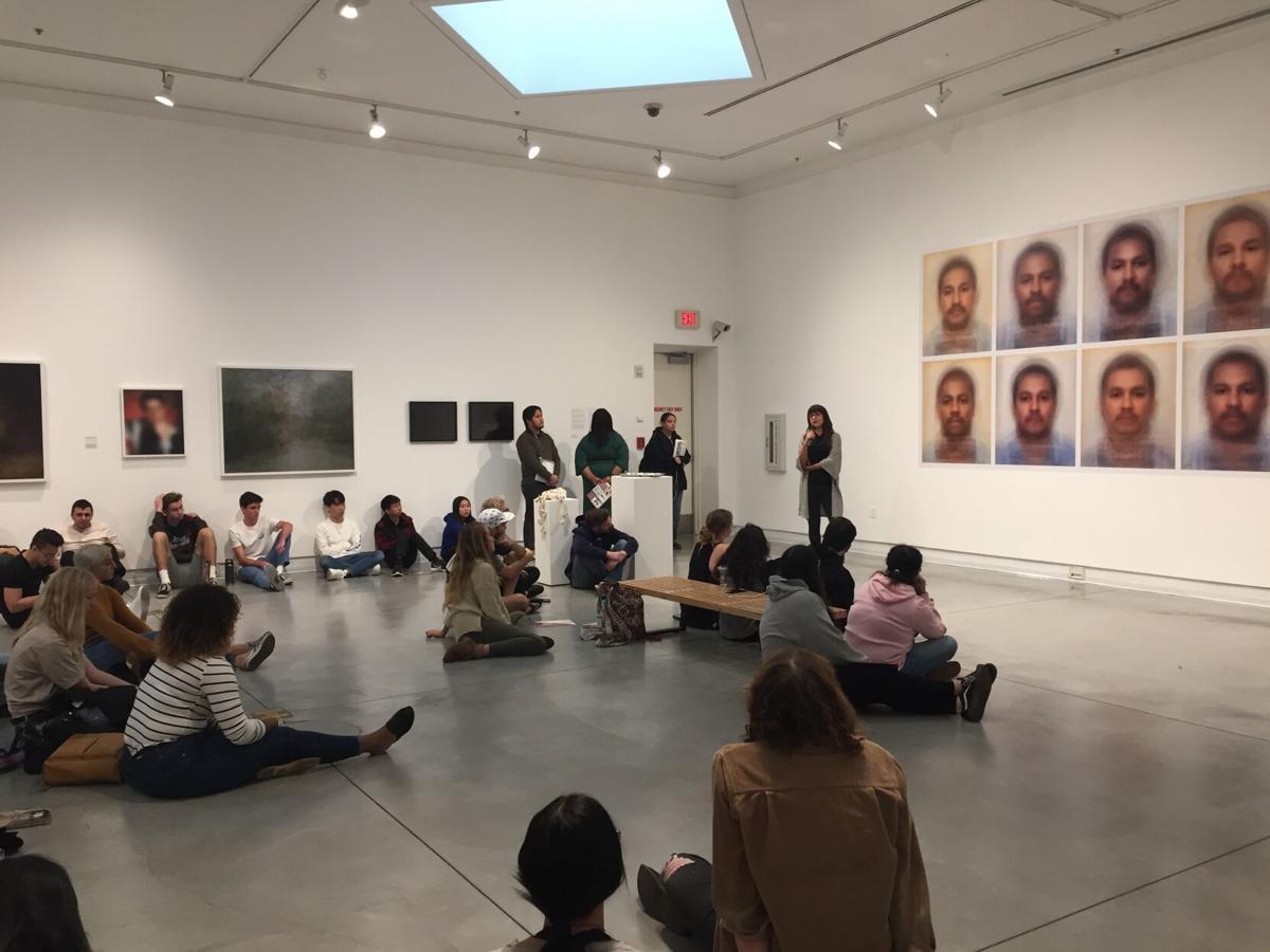 Students viewing Elkins exhibit