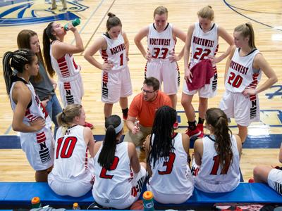 a10569cedbc42b NWC women s coach Camden Levett talks to the Lady Trappers during a timeout  Saturday at Sweitzer Gym.