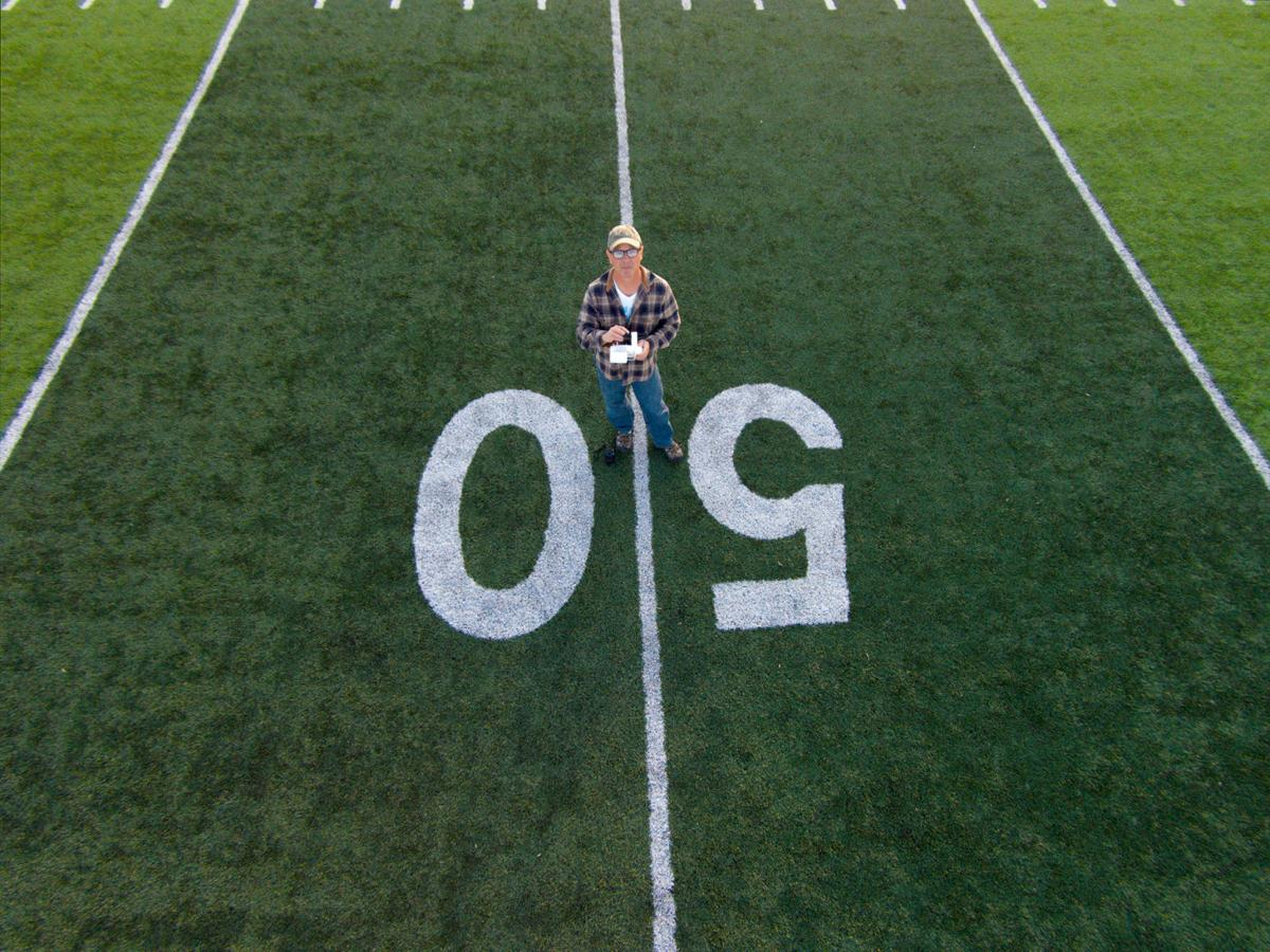 Morgan Tyree Takes A Self Portrait With His Drone At The 50 Yard Line Of Football Field Courtesy Photos