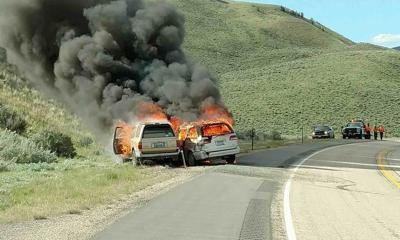 Flames on highway