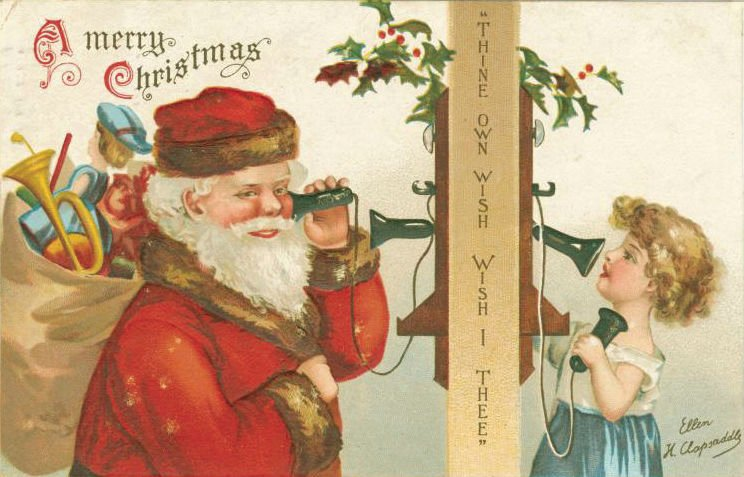 Image #2 clapsaddle postcard santa child on phone (1).jpg