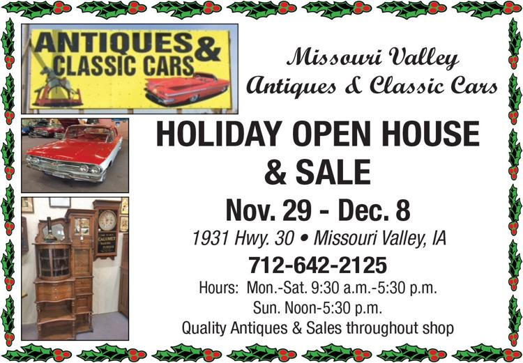 Missouri Valley Antiques & Classsic Cars. Holiday Open House and Sale