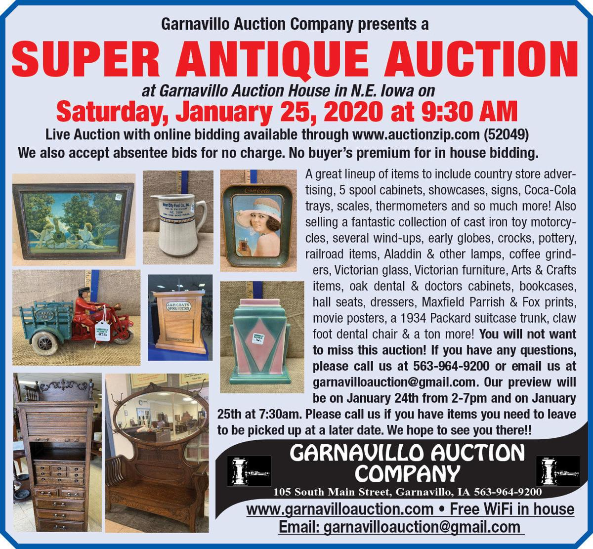 Super Antique Auction, country store advertising, crocks, furniture, toys