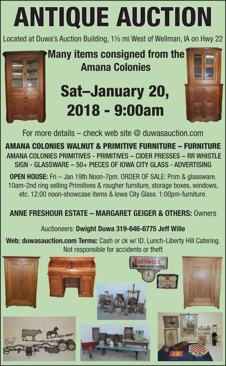 Antique Auction. Many items consigned from the Amana Colonies, walnut &  primitive furniture, - Antique Auction. Many Items Consigned From The Amana Colonies