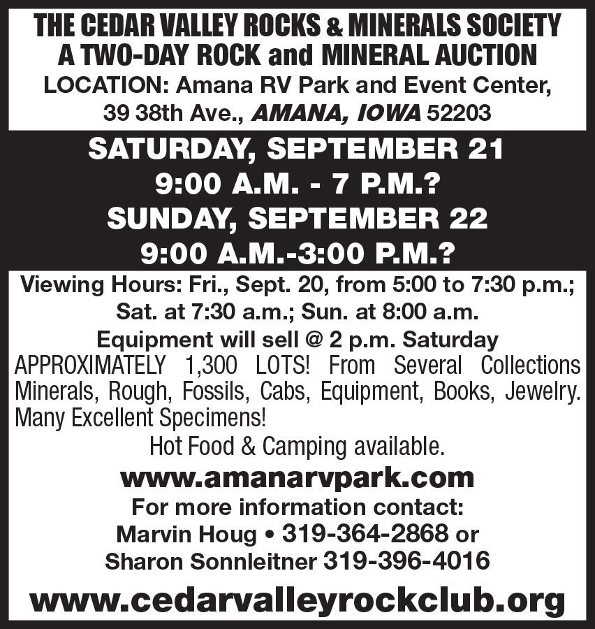 Cedar Valley Rocks and Minerals Society. Two Day Rocks and Minerals Auction
