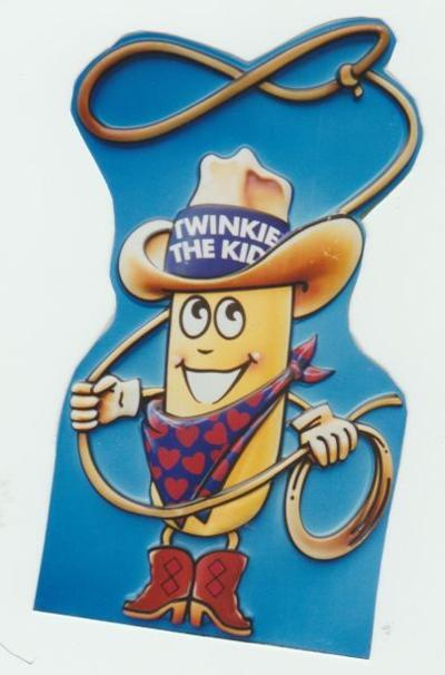 Twinkie the Kid bank from 1990 is made of blue plastic. It is valued at $20.