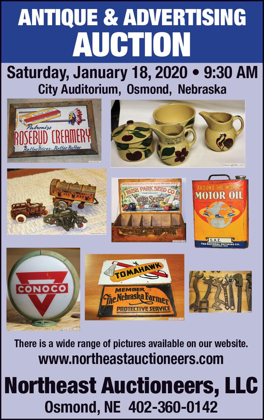 Antiques, signs, farm toys