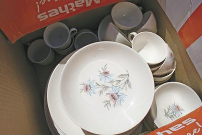 vintage china in a box.JPG