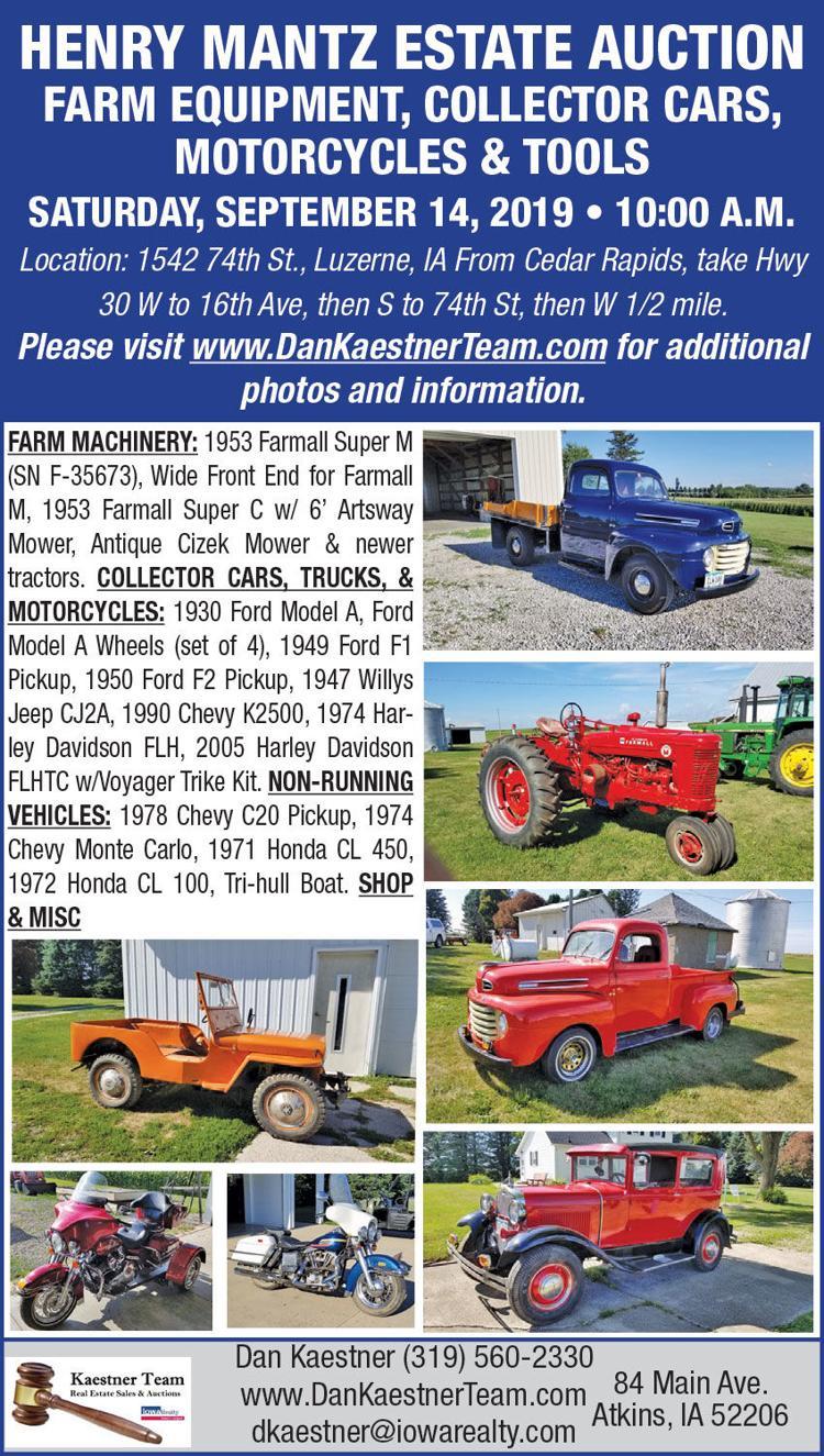 Farm machinery, collectible cars & trucks, shop