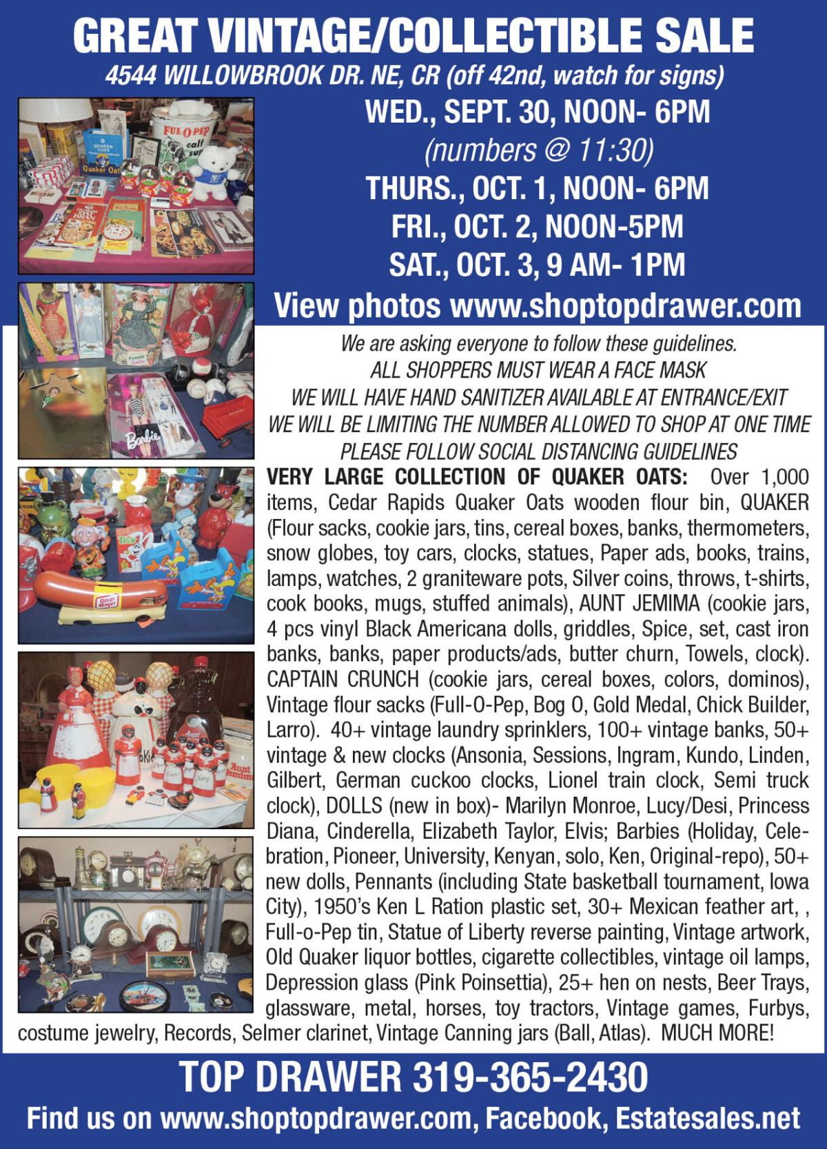 Large Collection of Quaker Oats memorabilia, Aunt Jemima Collectibles, Toy Tractors, Vintage Games, 25+ Hen on Nests and more