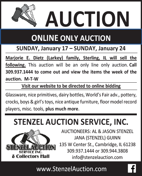 Stenzel Auction ONLINE ONLY