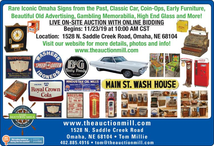 Omaha signs, classic car, coin-ops, early furniture