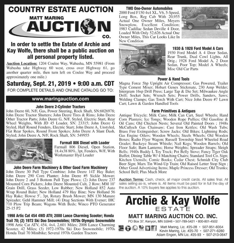 John Deere Tractors, machinery, Ford Model A cars, farm primitives