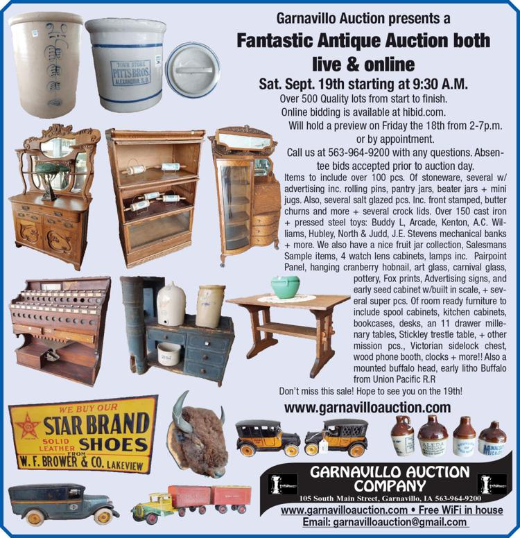 antastic Antique Auction live and online. Over 100 pcs. of Stoneware, over 150 cast iron and pressed steel toys, Advertising signs and more