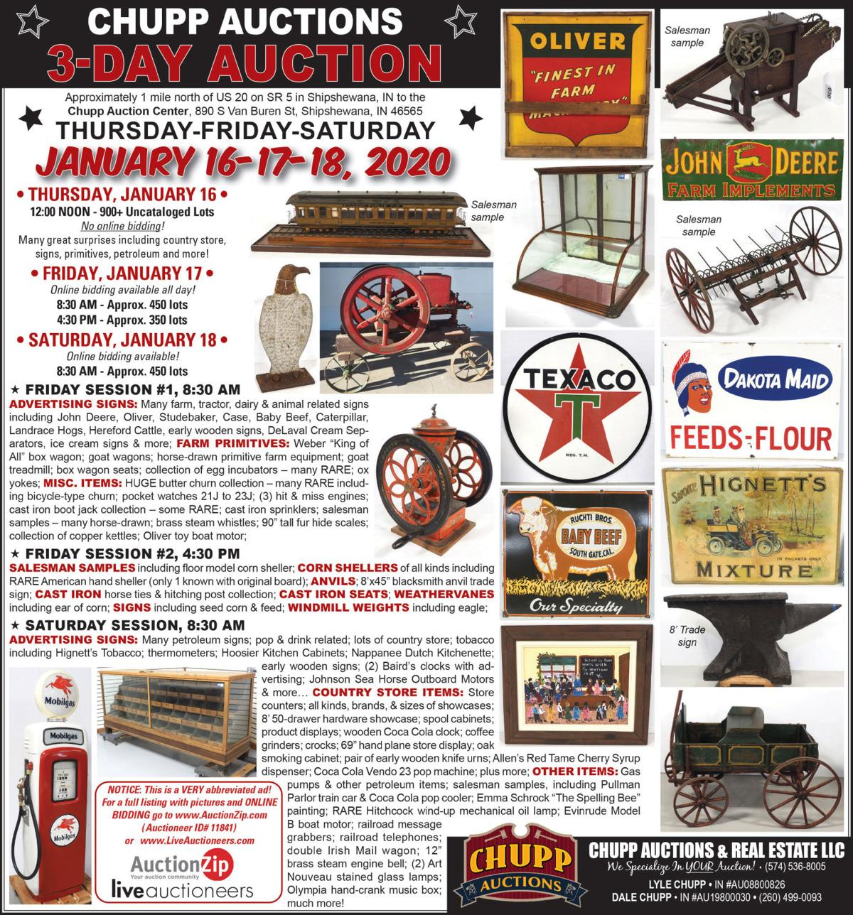 Advertising signs, farm primitives, misc. items, Cast iron, corn shellers, anvils, Signs, country store items.
