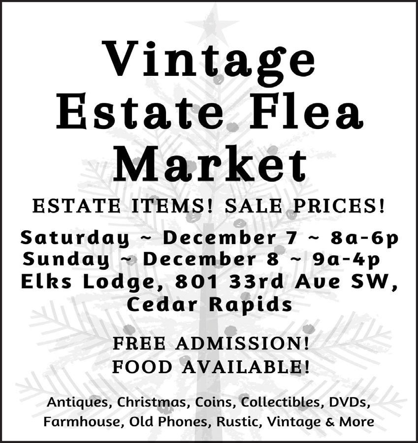 Vintage Estate Flea Market. Free Admission. Food Available