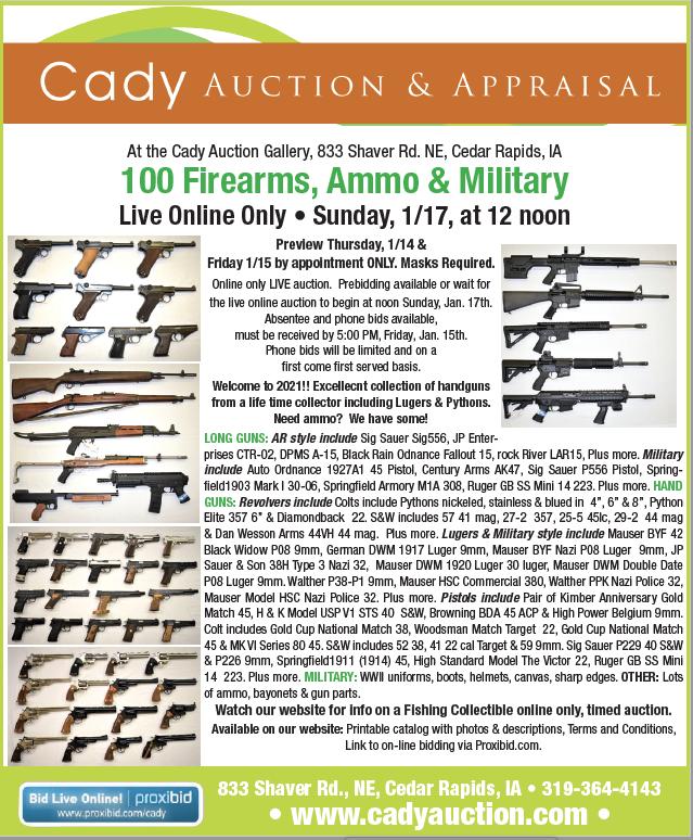 Cady Auction Cedar Rapids Iowa. Live Online Gun Auction