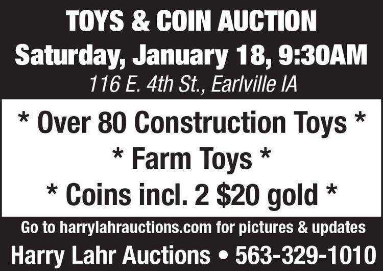 Construction toys, farm toys, coins