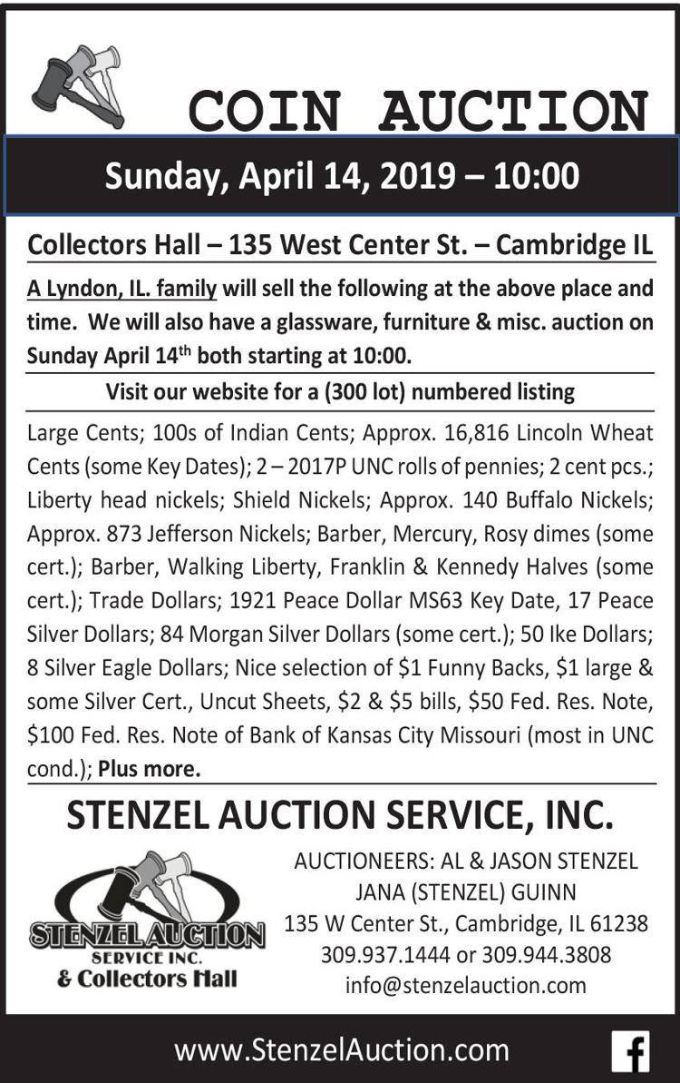 Coin Auction, large cents, indian cents, silver dollars