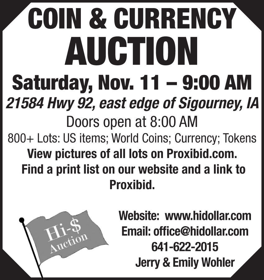 Coin & Currency Auction  800+ Lots: US items