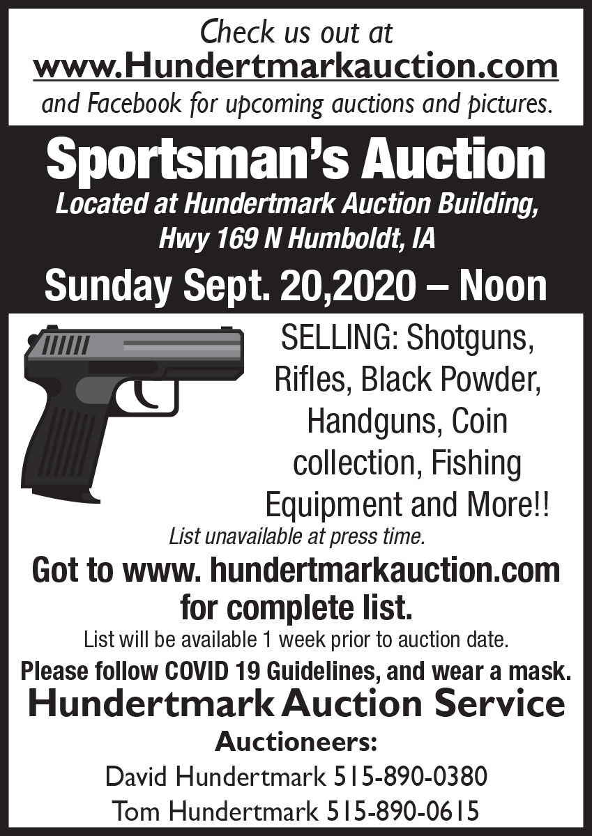 Sportsman's Auction selling shotguns, Rifles, Handguns and more