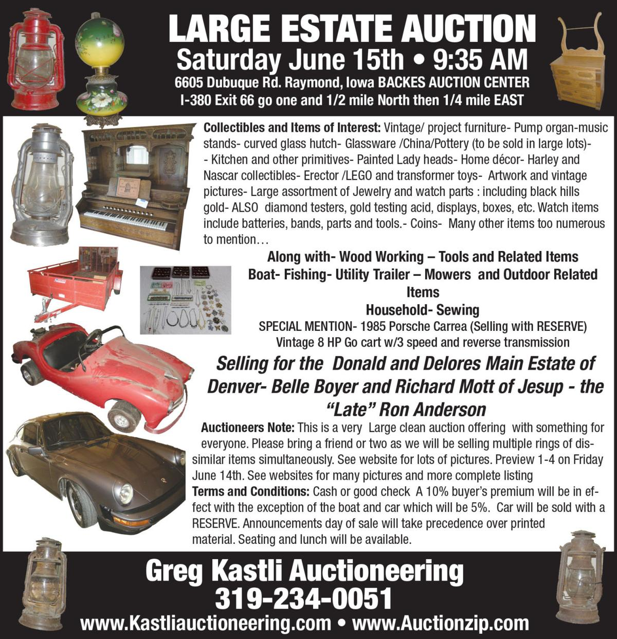 Large Estate Auction, Pump Organ, Curved Glass Hutch