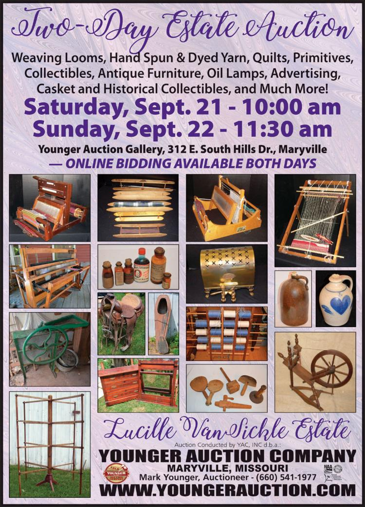Weaving looms, handspun yarn, quilts, oil lamps, historic collectibles