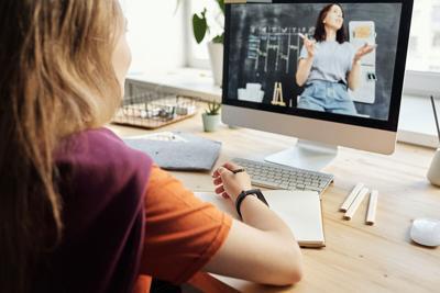 stock computer virtual learning school
