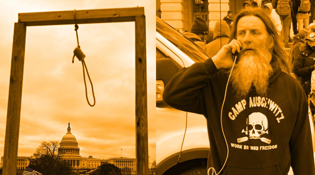 Man seen wearing 'Camp Auschwitz' T-shirt during Capitol rioting is arrested